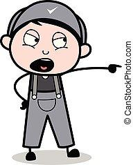 Shouting - Retro Repairman Cartoon Worker Vector Illustration