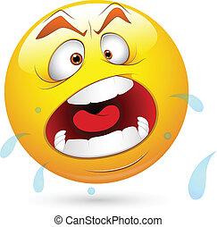 Shouting Smiley Face - Creative Abstract Conceptual Design...