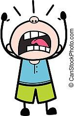 Shouting Teen Boy Cartoon