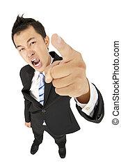 shouting, tu, excitado, apontar, homem negócios