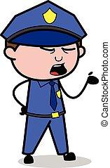 Shouting While Debating - Retro Cop Policeman Vector Illustration