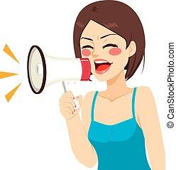 Shouting Woman Megaphone
