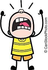 Shouting Young Boy Cartoon