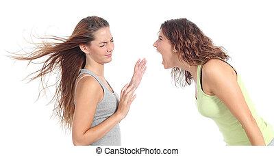 shouting, zangado, mulher, outro, um