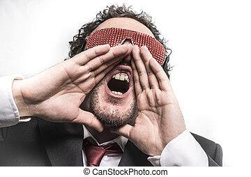 shoutout, homme affaires, à, rouges, lunettes, crier, nervously, et, inquiet, pour, argent