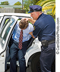 Criminal handcuffed and being shoved in the back of a squad car by a police officer.