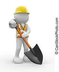 Shovel - 3d people - human character , person with a shovel...