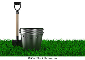 Shovel and bucket on grass. garden tool. Isolated 3D image