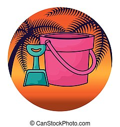 shovel and bucket with tropical palm in frame