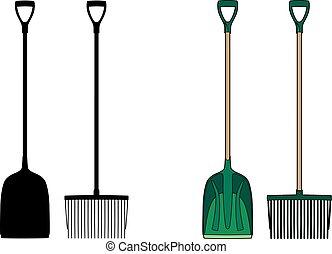 Shovel and fork