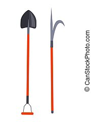 Shovel and Other Long Thing for Firefighting Set