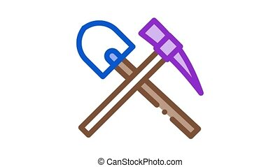 shovel and pickaxe Icon Animation. color shovel and pickaxe animated icon on white background