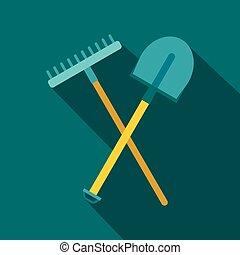 Shovel and rake icon, flat style