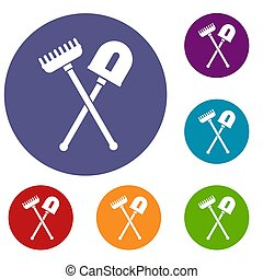Shovel and rake icons set in flat circle reb, blue and green...