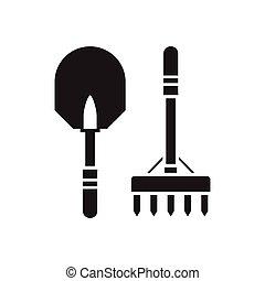 Shovel and Rake Outline Icon