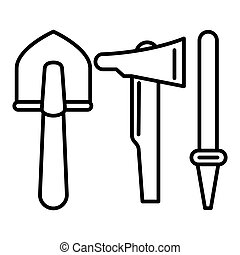 Shovel, ax, hose line icon. vector illustration isolated on white. outline style design, designed for web and app. Eps 10
