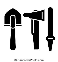 Shovel, ax, hose solid icon. vector illustration isolated on white. glyph style design, designed for web and app. Eps 10
