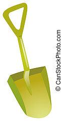 Shovel on a white background, green plastic