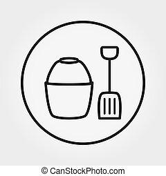 shovel., editable, toy., バケツ, ライン。, 薄くなりなさい, vector., icon., 普遍的