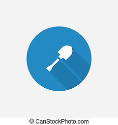 shovel Flat Blue Simple Icon with long shadow