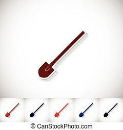 Shovel. Flat sticker with shadow on white background