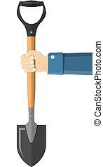 Shovel holding in hand.