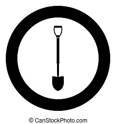 Shovel icon black color in circle