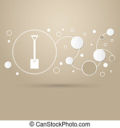 Shovel icon on a brown background with elegant style and modern design infographic.