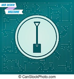 Shovel icon on a green background, with arrows in different directions. It appears on the electronic board. Vector