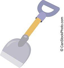 Shovel, illustration, vector on white background.
