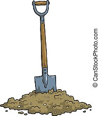 Shovel - Cartoon shovel in the ground vector illustration