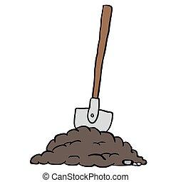 shovel in dirt cartoon