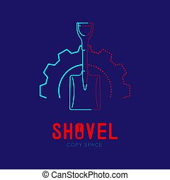 Shovel in gear frame logo icon outline stroke set dash line design illustration isolated on dark blue background with Shovel text and copy space