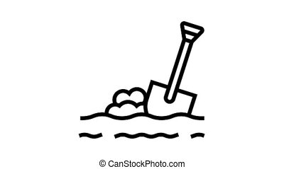 shovel in ground animated black icon. shovel in ground sign. isolated on white background