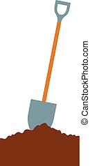 shovel in soil vector illustration