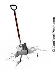 Shovel in surface crack isolated on white background