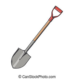 Shovel isolated on a white background. Color line art....