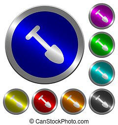Shovel luminous coin-like round color buttons