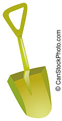 Shovel on a white background, green plastic