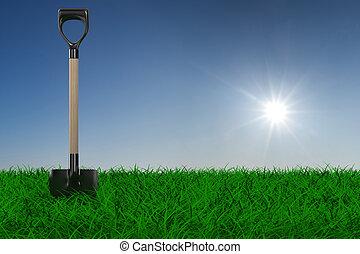Shovel on grass. garden tool. 3D image