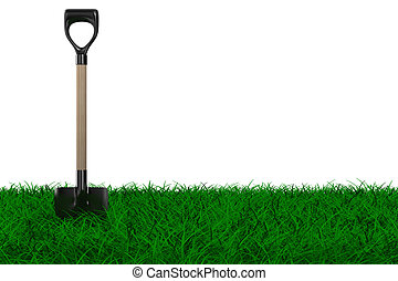 Shovel on grass. garden tool. Isolated 3D image
