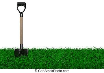 Shovel on grass. garden tool. Isolated 3D image