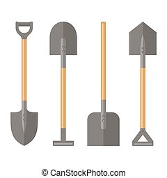 Shovel Set on White Background. Vector