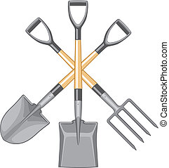 Illustration of Shovel, spade, and forked spade digging tools with short fiberglass handles. The vector format is three colors and easy to edit or separate for print or screen print.