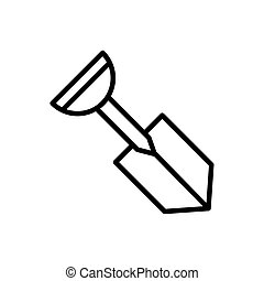 shovel tool architecture icon line style