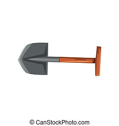 Shovel tool, geological or mining industry equipment vector Illustration on a white background
