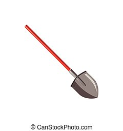 Shovel with red handle icon, cartoon style