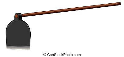 Shovel With Wooden Stick Illustration
