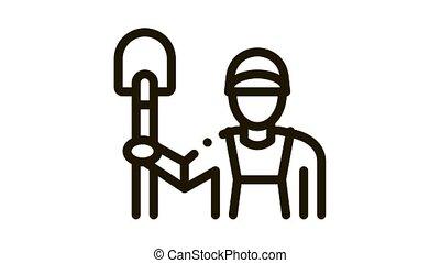 shovel worker Icon Animation. black shovel worker animated icon on white background