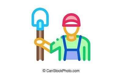 shovel worker Icon Animation. color shovel worker animated icon on white background